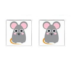 Mouse Grey Face Cufflinks (square)