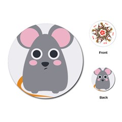 Mouse Grey Face Playing Cards (round)