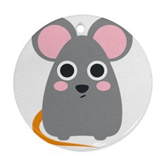 Mouse Grey Face Round Ornament (two Sides)