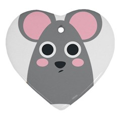 Mouse Grey Face Heart Ornament (two Sides)