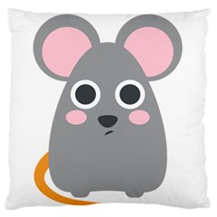 Mouse Grey Face Large Flano Cushion Case (two Sides)