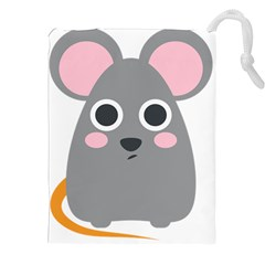 Mouse Grey Face Drawstring Pouches (xxl) by Alisyart