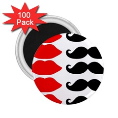 Mustache Black Red Lips 2 25  Magnets (100 Pack)  by Alisyart