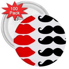 Mustache Black Red Lips 3  Buttons (100 Pack)