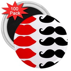 Mustache Black Red Lips 3  Magnets (100 Pack) by Alisyart