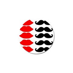 Mustache Black Red Lips Golf Ball Marker by Alisyart
