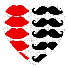 Mustache Black Red Lips Jigsaw Puzzle (heart)