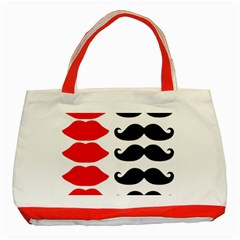 Mustache Black Red Lips Classic Tote Bag (red) by Alisyart