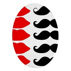 Mustache Black Red Lips Oval Ornament (two Sides)