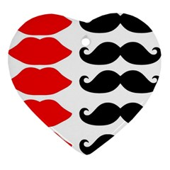 Mustache Black Red Lips Heart Ornament (two Sides) by Alisyart