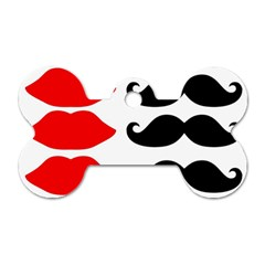 Mustache Black Red Lips Dog Tag Bone (one Side)