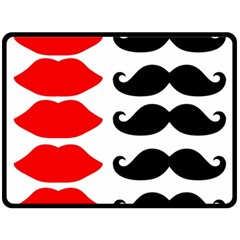 Mustache Black Red Lips Fleece Blanket (large)  by Alisyart