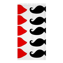 Mustache Black Red Lips Shower Curtain 36  X 72  (stall)