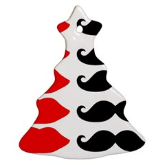 Mustache Black Red Lips Ornament (christmas Tree)