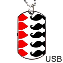 Mustache Black Red Lips Dog Tag Usb Flash (two Sides) by Alisyart