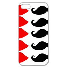 Mustache Black Red Lips Apple Seamless Iphone 5 Case (clear) by Alisyart