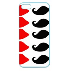 Mustache Black Red Lips Apple Seamless Iphone 5 Case (color)