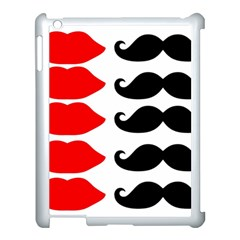 Mustache Black Red Lips Apple Ipad 3/4 Case (white)