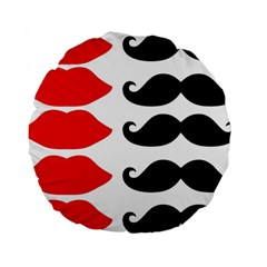 Mustache Black Red Lips Standard 15  Premium Round Cushions by Alisyart