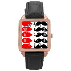 Mustache Black Red Lips Rose Gold Leather Watch  by Alisyart