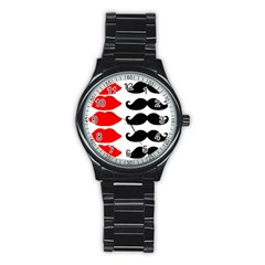 Mustache Black Red Lips Stainless Steel Round Watch by Alisyart