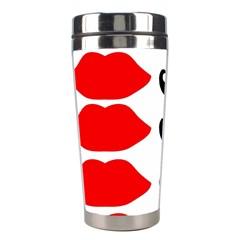 Mustache Black Red Lips Stainless Steel Travel Tumblers by Alisyart