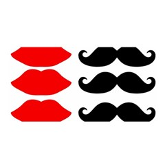 Mustache Black Red Lips Satin Wrap