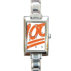 Number 100 Orange Rectangle Italian Charm Watch by Alisyart