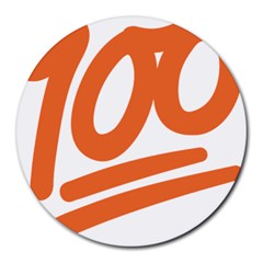 Number 100 Orange Round Mousepads