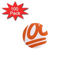 Number 100 Orange 1  Mini Magnets (100 Pack)  by Alisyart