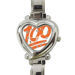 Number 100 Orange Heart Italian Charm Watch