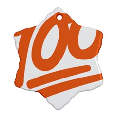 Number 100 Orange Snowflake Ornament (two Sides)