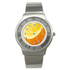 Orange Lime Yellow Fruit Fress Stainless Steel Watch