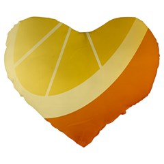 Orange Lime Yellow Fruit Fress Large 19  Premium Heart Shape Cushions by Alisyart