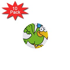 Parrot Cartoon Character Flying 1  Mini Buttons (10 Pack)  by Alisyart