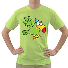 Parrot Cartoon Character Flying Green T Shirt