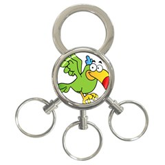 Parrot Cartoon Character Flying 3 Ring Key Chains by Alisyart