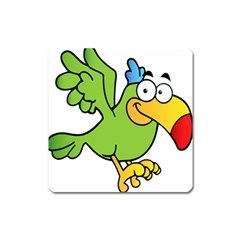 Parrot Cartoon Character Flying Square Magnet by Alisyart
