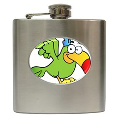 Parrot Cartoon Character Flying Hip Flask (6 Oz) by Alisyart