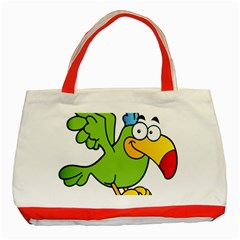 Parrot Cartoon Character Flying Classic Tote Bag (red) by Alisyart