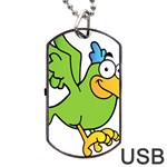 Parrot Cartoon Character Flying Dog Tag USB Flash (Two Sides) Front