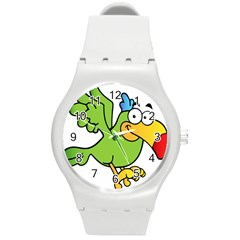 Parrot Cartoon Character Flying Round Plastic Sport Watch (m)