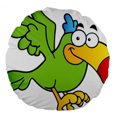 Parrot Cartoon Character Flying Large 18  Premium Round Cushions