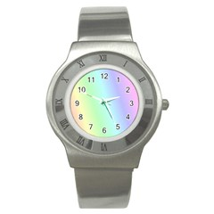Multi Color Pastel Background Stainless Steel Watch by Simbadda