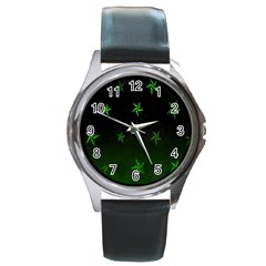 Nautical Star Green Space Light Round Metal Watch by Alisyart