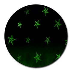 Nautical Star Green Space Light Round Mousepads by Alisyart