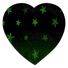 Nautical Star Green Space Light Jigsaw Puzzle (heart)