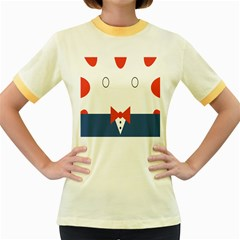 Peppermint Butler Wallpaper Face Women s Fitted Ringer T Shirts by Alisyart