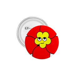 Poppy Smirk Face Flower Red Yellow 1 75  Buttons by Alisyart