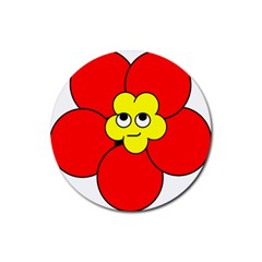 Poppy Smirk Face Flower Red Yellow Rubber Round Coaster (4 Pack)